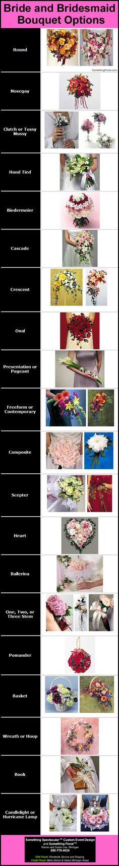 A pictorial list of bridal bouquet and bridesmaid bouquet shapes and options.