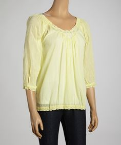 Take a look at the Zashi Lemon Three-Quarter Sleeve Peasant Top on #zulily today!