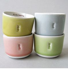 Wee Teas by Gleena Ceramics. So cute love the T is for toasting!