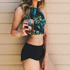 Wheretoget - Green jungle leaves print halter grop paired with black mini shorts