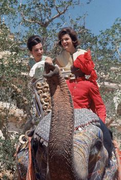 "Jackie Kennedy Rides an Elephan in India with Lee Radziwill.......""A camel makes an elephant feel like a jet plane."" -Jackie quote , on a 1962 trip to India"