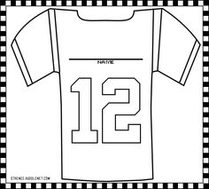 Seattle Seahawks 12th Man Jersey - Free Seahawks Coloring Pages! 6 Different Images available to print. #Seahawks #Color #Kids