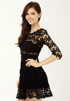 Crochet Floral Crop Sleeve - See-Through Top Detailing - The cutest crochet dress featuring scalloped skirt hem and floral cutout detailing. See-through top panel, partially lined bottom, stretch panel at waist. Perfect paired with a clutch and platforms!