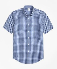 Brooks Brothers Non-Iron Regent Fit Short-Sleeve Gingham Sport Shirt