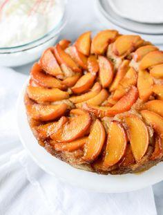 Cinnamon Sugar Bourbon Peach Upside Down Cake.