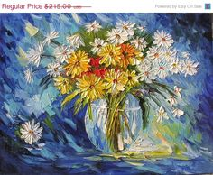 FLASH SALE Night Whisper 23x30 Original Oil Panting Flowers Palette Knife Bouquet Arrangement Blue Daisies Yellow Vase Home Decor Wall ART b