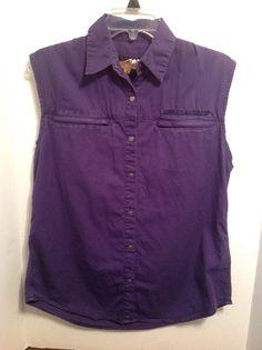 Women's Harley Davidson Purple Sleeveless Snap Up Shirt Distressed Layer Medium #HarleyDavidson #ButtonDownShirt