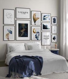 Art Blue gallery wall Modern Art Prints, Spacious Living Room, Gallery, Online Wall Art, Personalised Posters, Gallery Wall, Wall, Scandinavian Design, Interior Design Styles