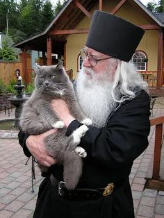 Abbot Tryphon and Hammi, of the All-Merciful Saviour Monastery, Vashon Island, Washington. I had the privilege of meeting and listening to Fr. Tryphon at my church. I Love Cats, Cool Cats, Orthodox Christianity, Catholic Religion, Cat People, Cats And Kittens, Cat Lovers, Dog Cat, Vashon Island