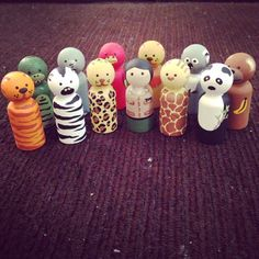 Hey, I found this really awesome Etsy listing at https://www.etsy.com/listing/250543733/zoo-animal-peg-dolls-set-craft