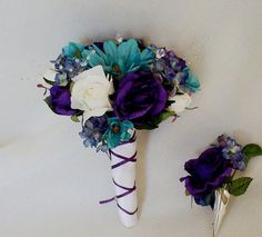 purple and teal wedding bouquets, wrapped in scrapbooking paper with ribbon?  These can be paper cones even, if you need cheap color...