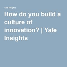 How do you build a culture of innovation? | Yale Insights