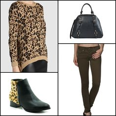 Jacquard animal print jumper by #SFERA  @elcorteingles ~~ Tote #bag New League @justfabuk @JustFabES @justfabonline ~~ Bootie leopard #tinogonzalez ~~ Skinny Colette #trousers in coloured twill @salsapinterest ~~.