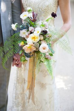 California Garden Wedding From Matthias Photography Summer Flowers, Wild Flowers, Beautiful Flowers, Beautiful Bouquets, Fresh Flowers, Fern Bouquet, Rustic Bouquet, Bride Bouquets, Floral Bouquets