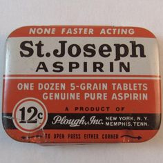 St Joseph Aspirin Tin. An unusual 12 cents cost instead of a dime. Learn more at www.rubylane.com/shops/ssmooreantiques