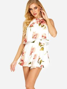 5d38b08d8f3 White Cut Out Self-tie Design Random Floral Print Halter Sleeveless  Playsuits