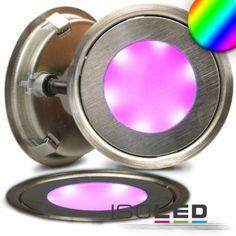 """LED Bodenstrahler """"SLIM-OUT"""", rund, IP67, edelstahl, RGB / LED24-LED Shop"""