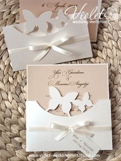 Handmade Silhouette #butterfly wedding #invitation, dusty pink off white invitation from www.violet-weddinginvitations.com