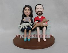 custom cake toppers with cat and dogs and sofa by dealeasynet, $120.00