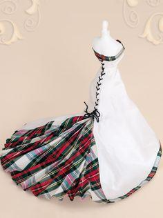 Scottish bride gown of Tartan silk 'Stewart Dress' Ribbon down side looks cool, trail poss a bit much