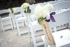 elegant wood wedding signs to indicate reserved sections