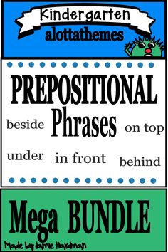 It's all of my preposition packets jammed into one easy to download DISCOUNTED bundle! Save *BIG* when purchasing the PREPOSITIONS MEGA Bundle!  #alottathemes #prepositions  #centerideas  Published November 10 2019 Speech Activities, Alphabet Activities, Language Activities, Reading Activities, Kindergarten Themes, Kindergarten Classroom, Classroom Ideas, Prepositional Phrases, Prepositions