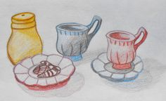 Tea Set. Pencil on Paper. By Kelli Cantrell. http://kcantrartideas.weebly.com/drawings.html