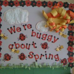My April bulletin board Cafe Bulletin Boards, Teacher Bulletin Boards, Spring Bulletin Boards, Preschool Bulletin Boards, Bullentin Boards, Class Decoration, School Decorations, Preschool Crafts, Crafts For Kids