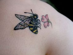 Honey Bee Flower Tattoo