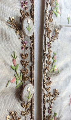 Running sprays of leaves in gold purl, passing and sequins on the leading edges of a silver lamé silk waistcoat, 1775-80, in the Wade collection. ©National Trust
