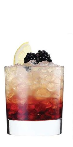 Hennessy Bramble: 4-5 blackberries or raspberries,   ½ oz. fresh lemon juice,   ½ oz. simple syrup,   1½ oz. Hennessy V.S Cognac,  ¼ oz. crème de cassis or  other berry liqueur.  Lemon twist and additional berries,  for garnish  Muddle berries in the bottom of a shaker and add lemon  juice, simple syrup and Cognac with ice. Shake and strain  into a rocks glass with ice. Splash Cassis on top