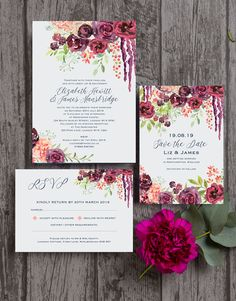 Rustic wedding stationery with rich burgundy / wine / marsala / maroon / dark red / blush pink floral details. Hand painted flowers beautifully frame your wedding information. The collection includes Save the Dates, Invitations / Invites, reply cards, guest information cards, gift poem cards, table names and numbers, menus and seating plans. All available as a printable PDF or printed and delivered. Personalise online with your own text