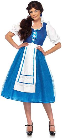 Village Beauty Costume - Small - Dress Size Includes tea length peasant dress with shimmer tulle apron skirt and matching hair bow. Belle Halloween Costumes, Disney Costumes, Adult Costumes, Party Costumes, Movie Costumes, Halloween Dress, Disney Halloween, Halloween 2017, Halloween Stuff