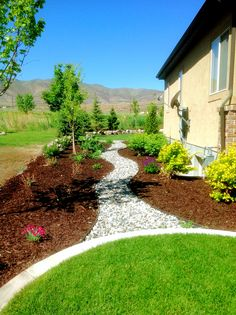 I would love to do something similar to this in my yard.  I love how the dark mulch contrasts with the green and light brush.  I think it is really pleasing to look at.
