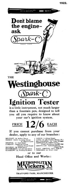 1922. Westinghouse advert