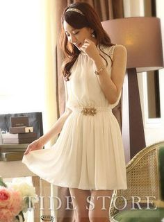 USD$ 21.99 Elegant New Stand Collar Solid Color Dress: tidestore.com