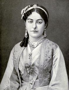 Queen Natalia of Serbia, consort of King Milan I in a traditional serbian costume. 1870s.