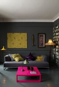 Interior, Chic Some Living Spaces Decorated with Yellow and Grey Theme: Pretty Living Room With Grey Wall Design