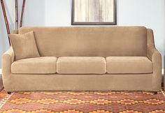 Sure Fit Slipcovers Stretch Piqué 3 Seat Sleeper Sofa - 3 Seat Sleeper Sofa