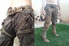 Post apocalyptic pants and belt. Homemade. Gaiters and boots.