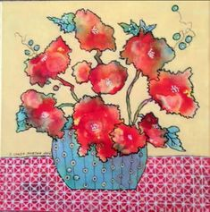 """See what Artists taking the online class """"Painting Flowers from imagination in mixed media"""" have been painting here! Space Painting, Painting & Drawing, Watercolor Flowers, Painting Flowers, Flower Paintings, Simple Flowers, Art Tips, Flower Patterns, Unique Art"""