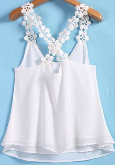 SheIn offers White Lace Spaghetti Strap Chiffon Cami Top & more to fit your fashionable needs. Chiffon Cami Tops, Belly Shirts, Modelos Fashion, Baby Dress Patterns, Crochet Shirt, T Shirt Diy, Diy Clothes, Blouse Designs, Denim Top
