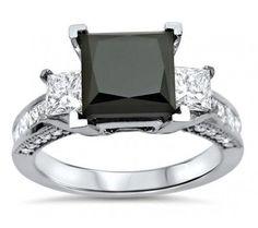 3 40ct Black 3 Stone Princess Cut Diamond Engagement Ring 14k White - http://blackdiamond-rings.com/3-40ct-black-3-stone-princess-cut-diamond-engagement-ring-14k-white/