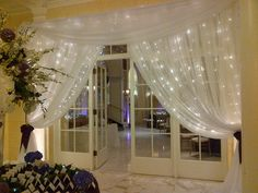 beautiful sheer curtains with white lights