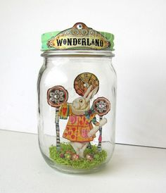 Ok, this gives me an idea for a kid project.  Make a jar display of their favorite book, or book reading for school.