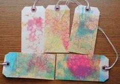 Gelli printed tags