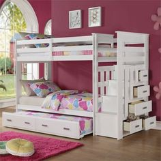 Find a wide selection of Kids Bunk Beds at Nebraska Furniture Mart. Shop with our low-price guarantee and find great deals on Kids Bunk Beds and more! Girls Bunk Beds, White Bunk Beds, Modern Bunk Beds, Kid Beds, Beds For Girls, Bunk Beds With Drawers, Bunk Beds With Storage, Bunk Beds With Stairs, Bed Storage