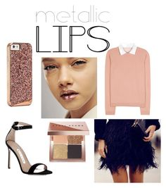 """Metalic rose gold look"" by jagaka on Polyvore featuring uroda, Manolo Blahnik, RED Valentino, Bobbi Brown Cosmetics i metalliclips"