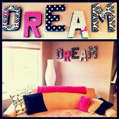 DIY letter wall art. Paper mâché letters from Joanne's fabric. Fabric of your choice and ribbon. It's so easy!