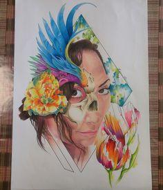 #kanuttoo #illustration #draw #realism #color #ink #inked #tattoo #woman #Venezuela #nihon #japan #art #face #flowers #skulls #blue #pink @aspy511